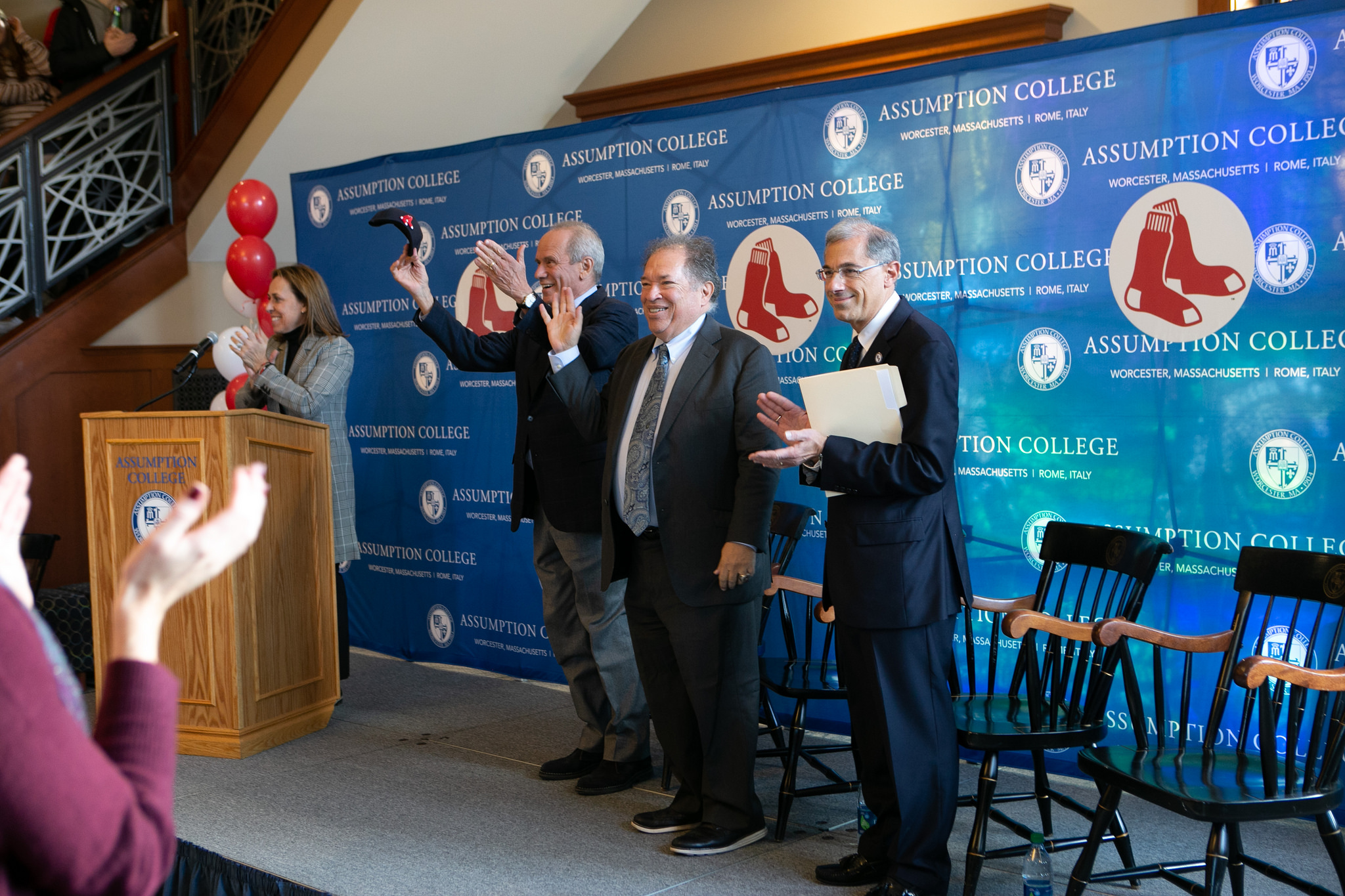 Larry Lucchino, Dr. Charles Steinberg and Francesco C. Cesareo announce a new partnership between Assumption College and the Worcester Red Sox.