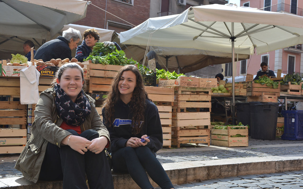 Assumption students in one of the many markets throughout the city of Rome.