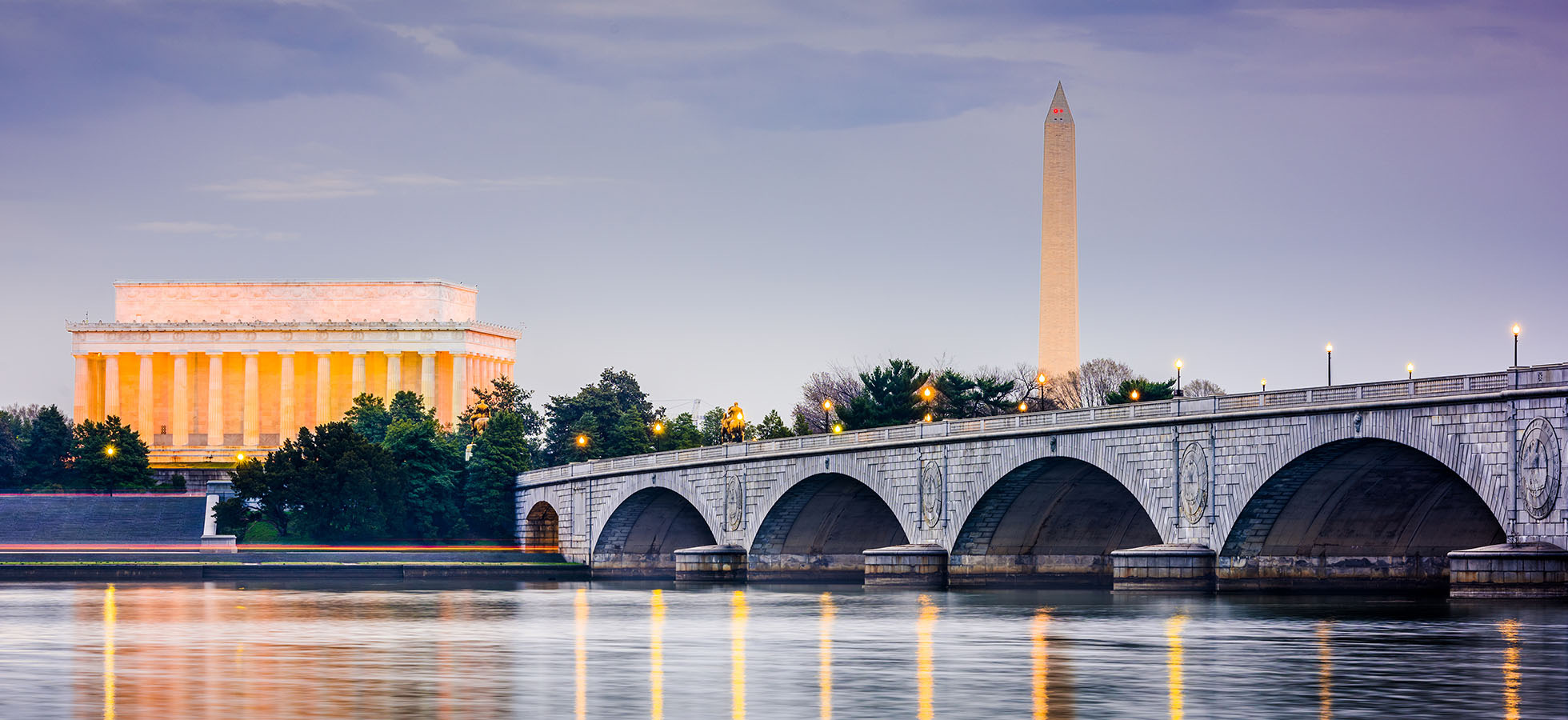 The Potomac River, Lincoln Memorial and Washington Monument at dusk.