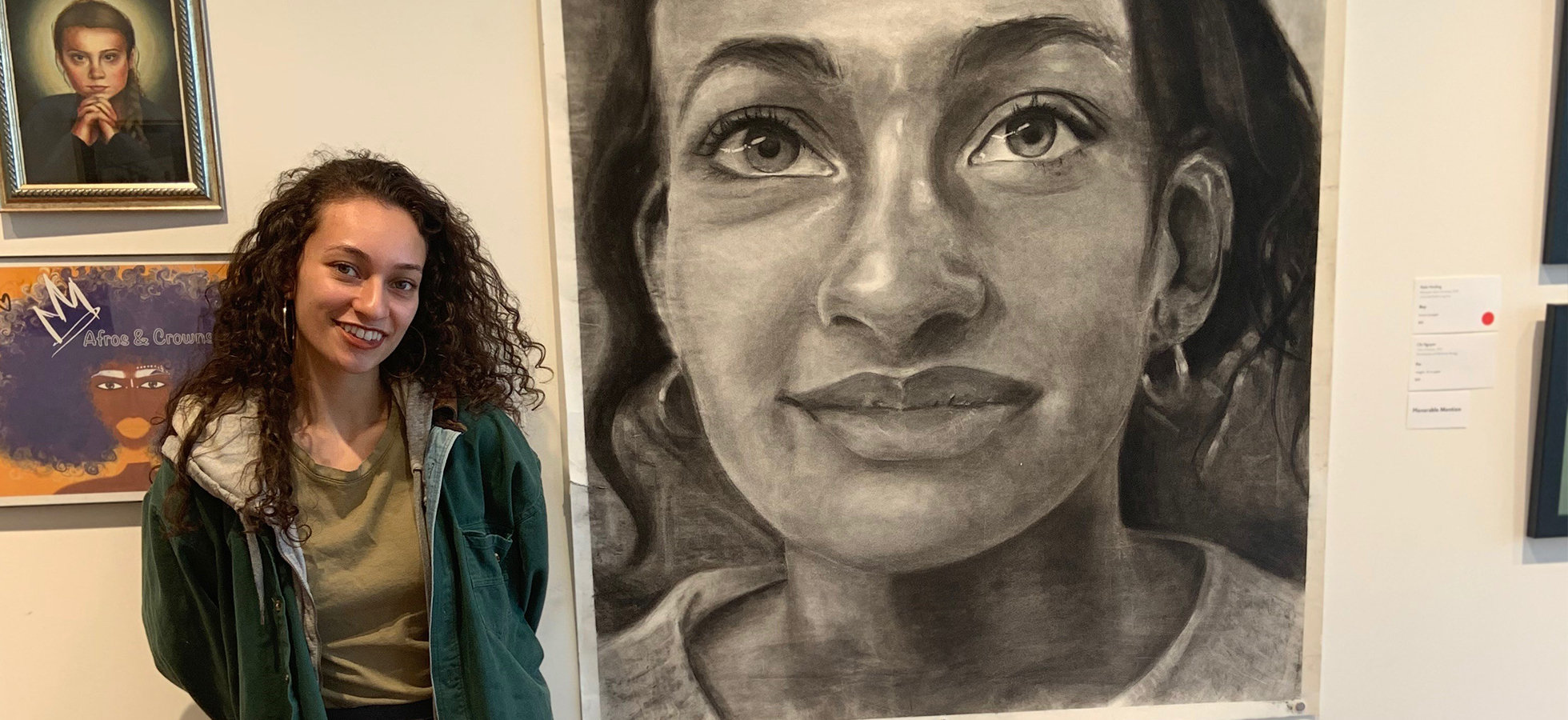 Dana Mendes '20, a secondary education in visual arts major from Merrimack, NH, who recently took first place in ArtsWorcester's 16th Annual College Show.