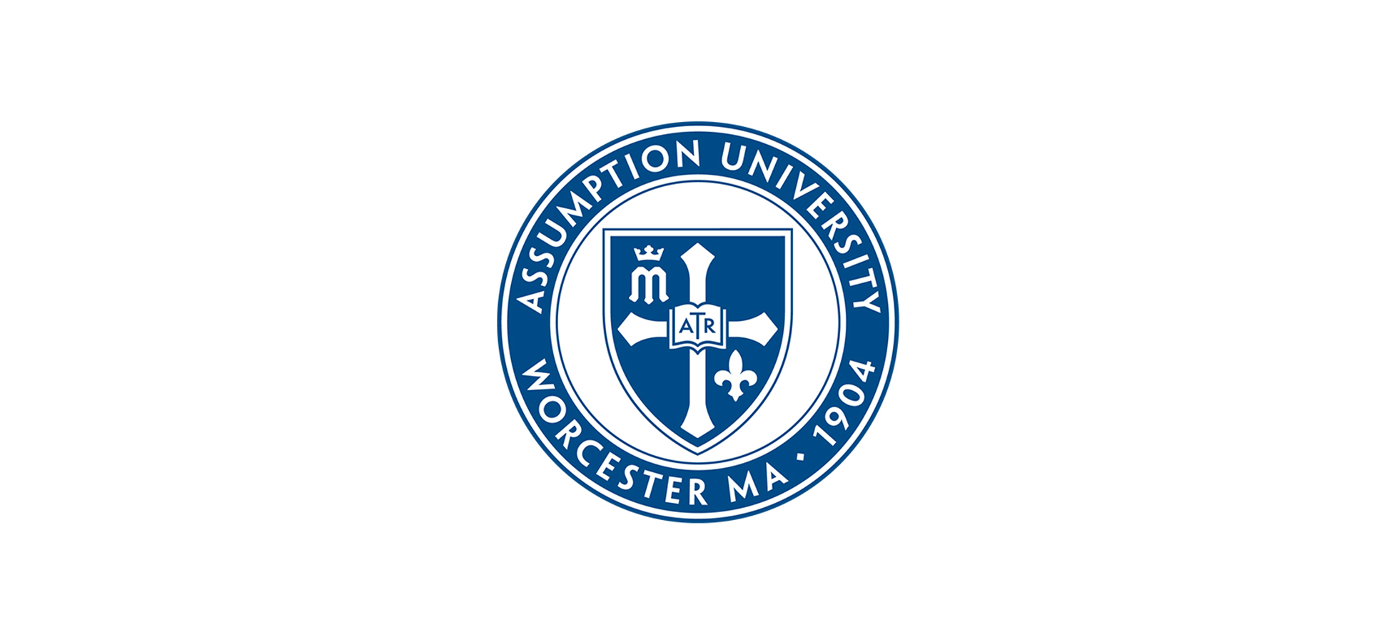 The blue and white seal of Assumption University