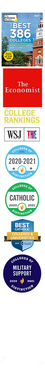 A list of badges recognizing Assumption as being a Military Friendly school, Catholic and College of Distinction and one of the Best 386 Colleges as ranked by The Princeton Review.