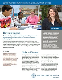 PDF fact sheet for Assumption College's Department of Human Services and Rehabilitation Studies