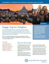 PDF fact sheet for Assumption's Modern and Classical Languages program