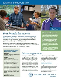 PDF fact sheet for Assumption College's Department of Natural Sciences